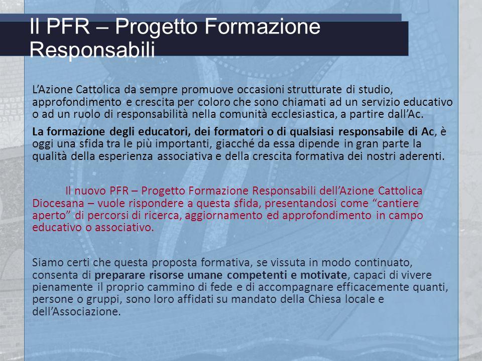 Il PFR – Progetto Formazione Responsabili L'Azione Cattolica da sempre promuove occasioni strutturate di studio, approfondimento e crescita per coloro che sono chiamati ad un servizio educativo o ad un ruolo di responsabilità nella comunità ecclesiastica, a partire dall'Ac.