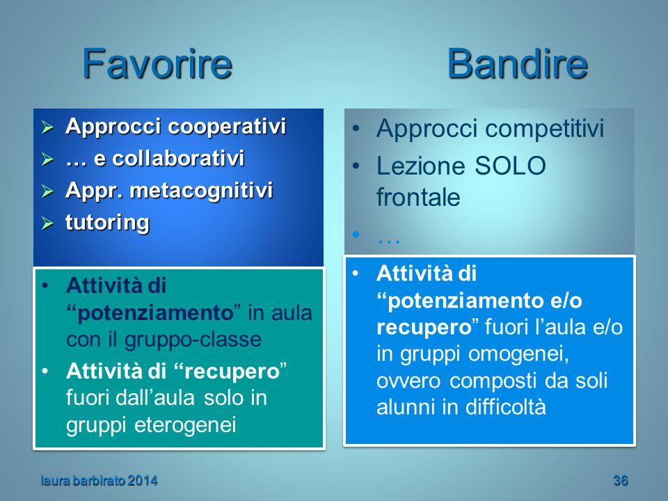 Favorire Bandire  Approcci cooperativi  … e collaborativi  Appr. metacognitivi  tutoring Approcci competitivi Lezione SOLO frontale … Attività di