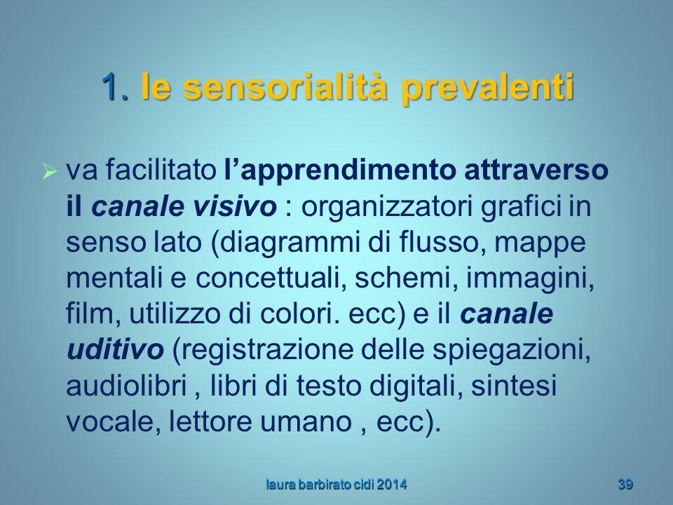 1. le sensorialità prevalenti   va facilitato l'apprendimento attraverso il canale visivo : organizzatori grafici in senso lato (diagrammi di flusso
