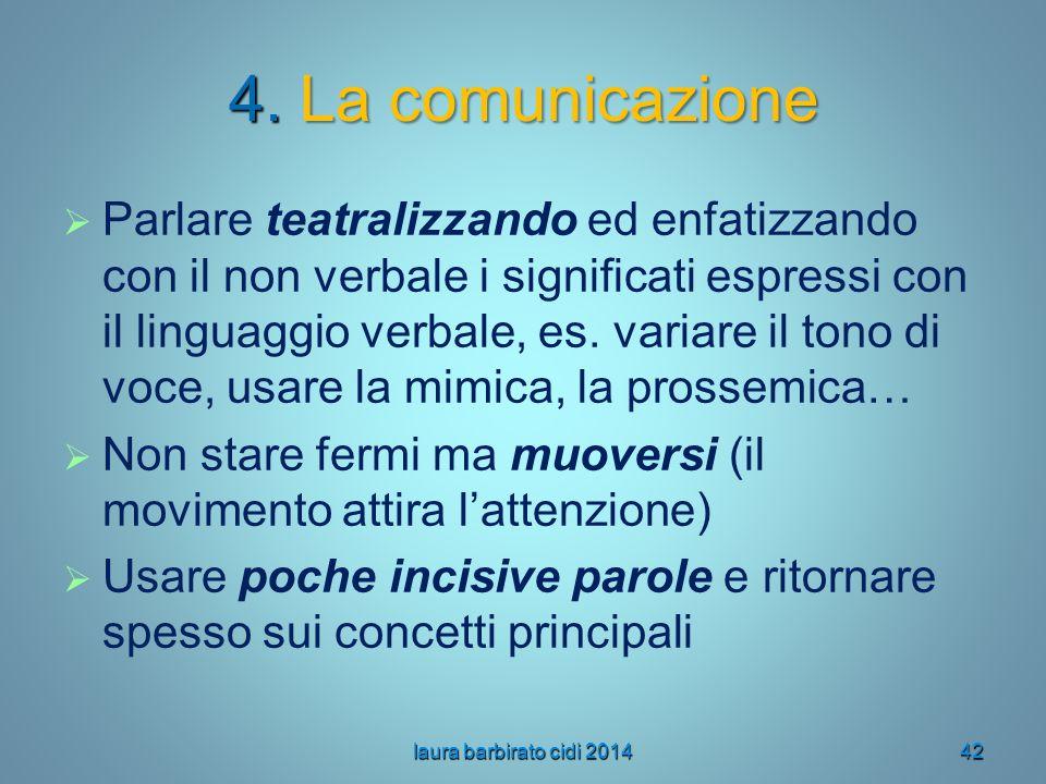 4. La comunicazione   Parlare teatralizzando ed enfatizzando con il non verbale i significati espressi con il linguaggio verbale, es. variare il ton