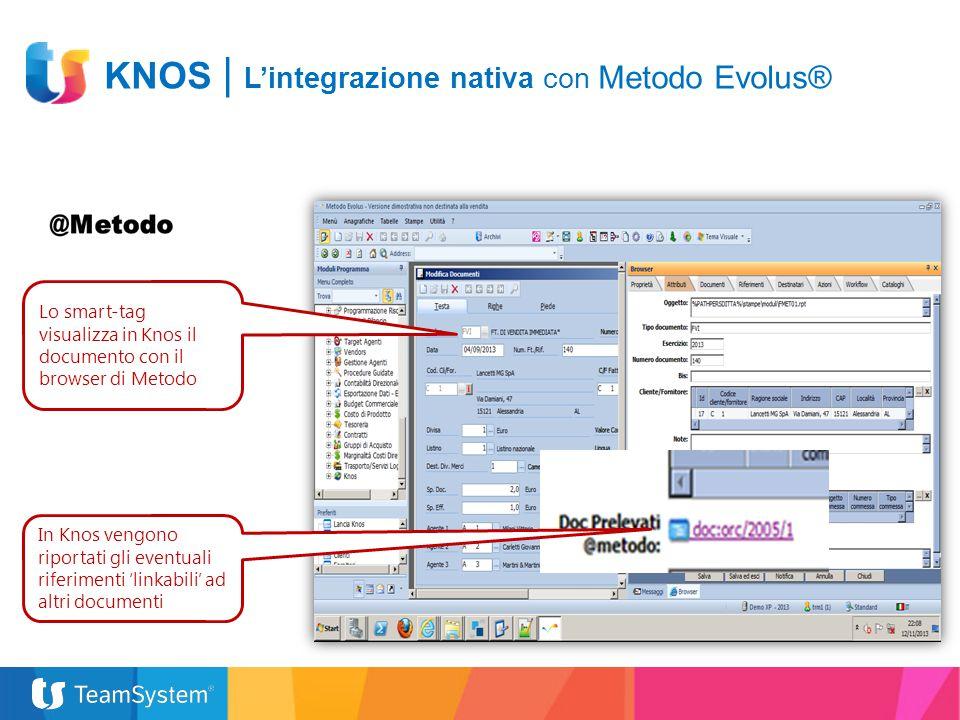 Lo smart-tag visualizza in Knos il documento con il browser di Metodo In Knos vengono riportati gli eventuali riferimenti 'linkabili' ad altri documen
