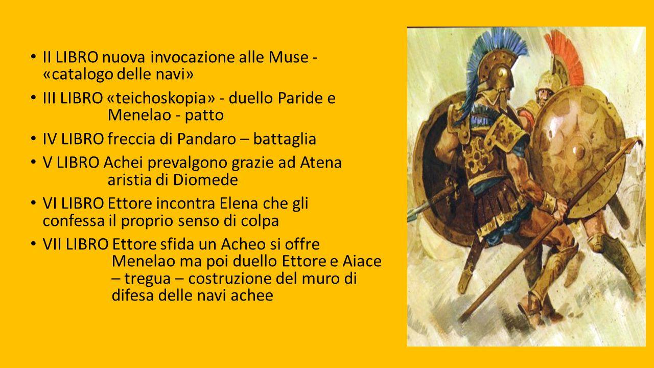II LIBRO nuova invocazione alle Muse - «catalogo delle navi» III LIBRO «teichoskopia» - duello Paride e Menelao - patto IV LIBRO freccia di Pandaro –