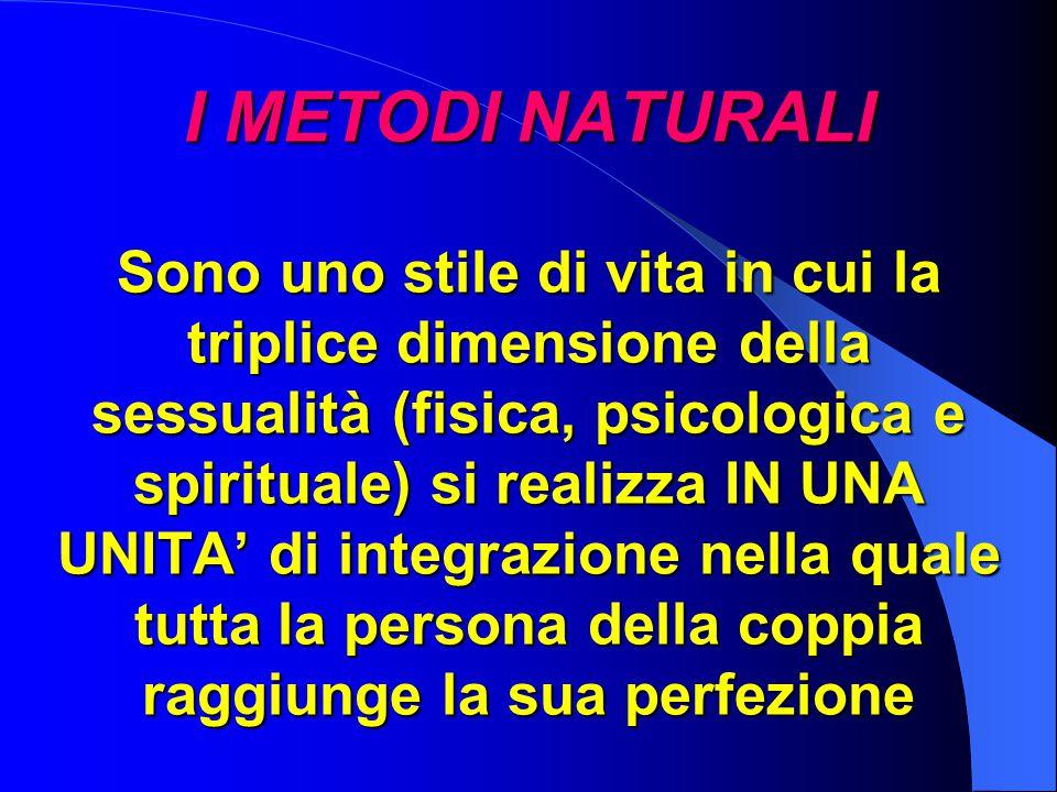 I METODI NATURALI Sono uno stile di vita in cui la triplice dimensione della sessualità (fisica, psicologica e spirituale) si realizza IN UNA UNITA' di integrazione nella quale tutta la persona della coppia raggiunge la sua perfezione