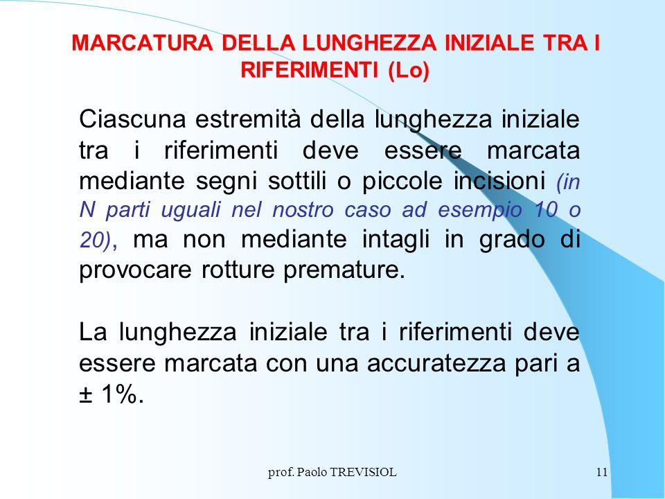 prof. Paolo TREVISIOL11 MARCATURA DELLA LUNGHEZZA INIZIALE TRA I RIFERIMENTI (Lo) Ciascuna estremità della lunghezza iniziale tra i riferimenti deve e