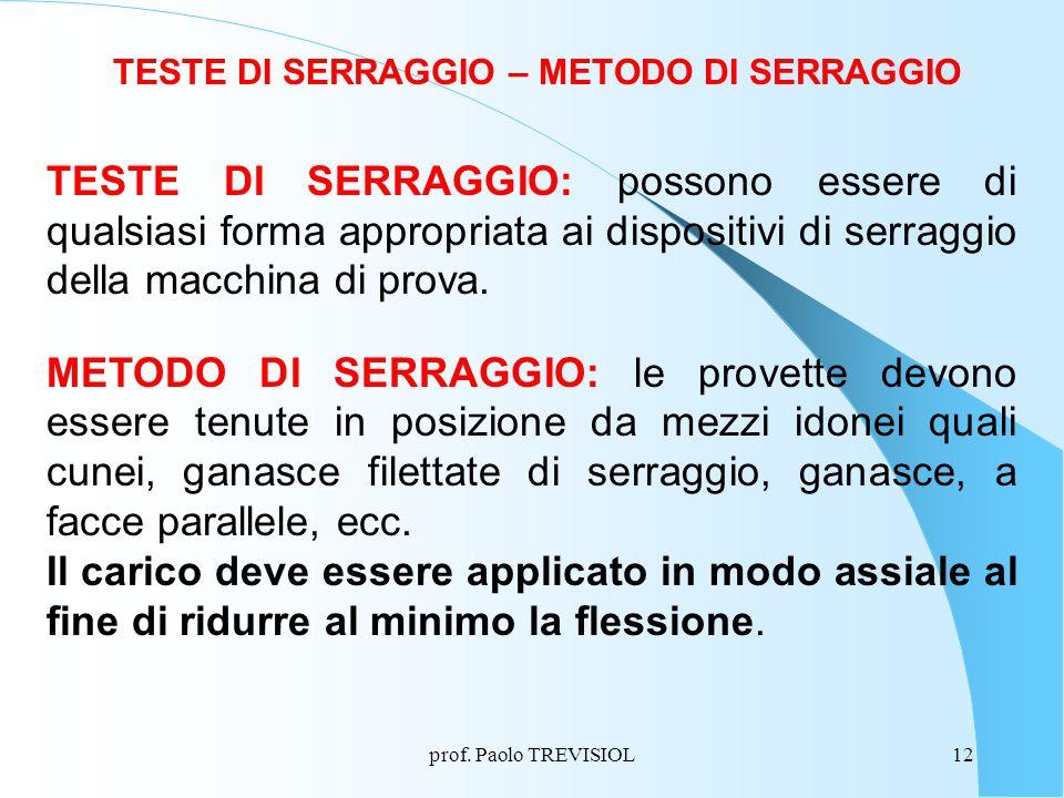 prof. Paolo TREVISIOL12 TESTE DI SERRAGGIO – METODO DI SERRAGGIO TESTE DI SERRAGGIO: possono essere di qualsiasi forma appropriata ai dispositivi di s