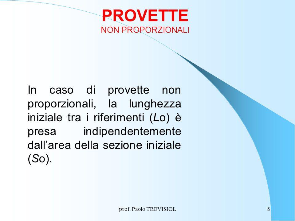 prof. Paolo TREVISIOL8 PROVETTE NON PROPORZIONALI In caso di provette non proporzionali, la lunghezza iniziale tra i riferimenti (Lo) è presa indipend