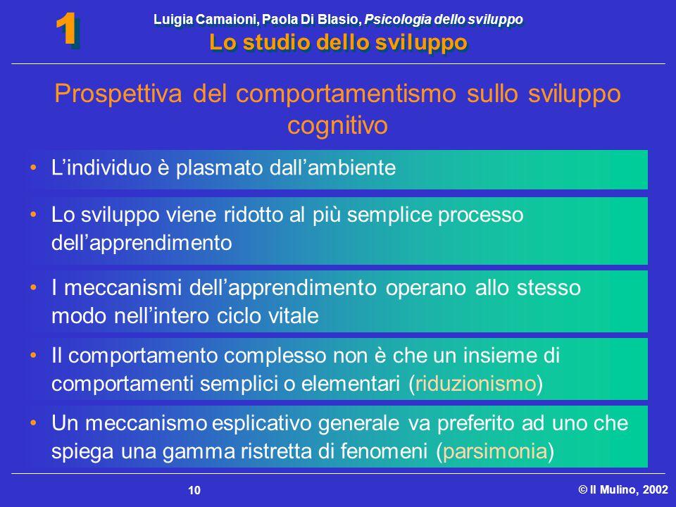 Luigia Camaioni, Paola Di Blasio, Psicologia dello sviluppo Lo studio dello sviluppo © Il Mulino, 2002 1 1 10 L'individuo è plasmato dall'ambiente I m