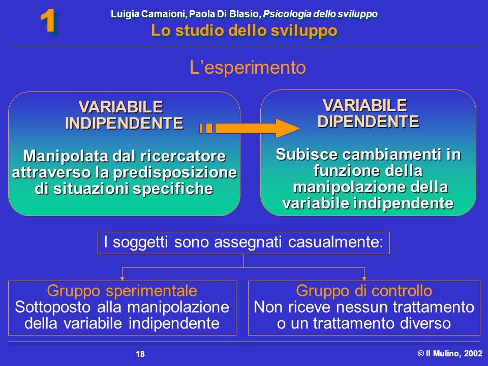 Luigia Camaioni, Paola Di Blasio, Psicologia dello sviluppo Lo studio dello sviluppo © Il Mulino, 2002 1 1 18 VARIABILEINDIPENDENTE Manipolata dal ric