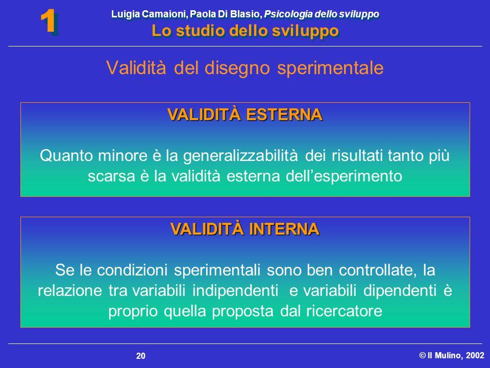 Luigia Camaioni, Paola Di Blasio, Psicologia dello sviluppo Lo studio dello sviluppo © Il Mulino, 2002 1 1 20 VALIDITÀ ESTERNA Quanto minore è la gene