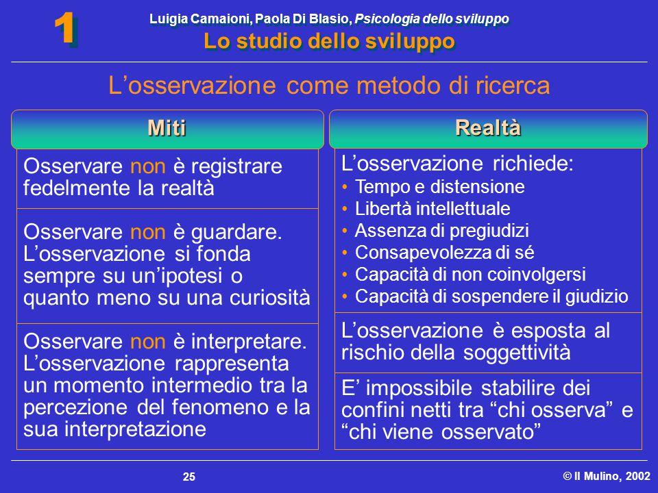 Luigia Camaioni, Paola Di Blasio, Psicologia dello sviluppo Lo studio dello sviluppo © Il Mulino, 2002 1 1 25 Osservare non è registrare fedelmente la