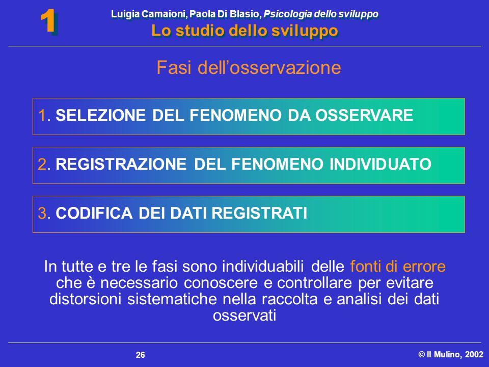 Luigia Camaioni, Paola Di Blasio, Psicologia dello sviluppo Lo studio dello sviluppo © Il Mulino, 2002 1 1 26 1. SELEZIONE DEL FENOMENO DA OSSERVARE 2