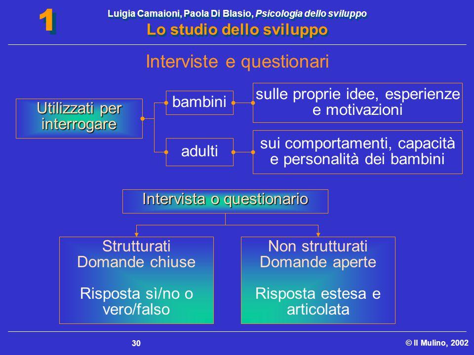 Luigia Camaioni, Paola Di Blasio, Psicologia dello sviluppo Lo studio dello sviluppo © Il Mulino, 2002 1 1 30 Strutturati Domande chiuse Risposta sì/n