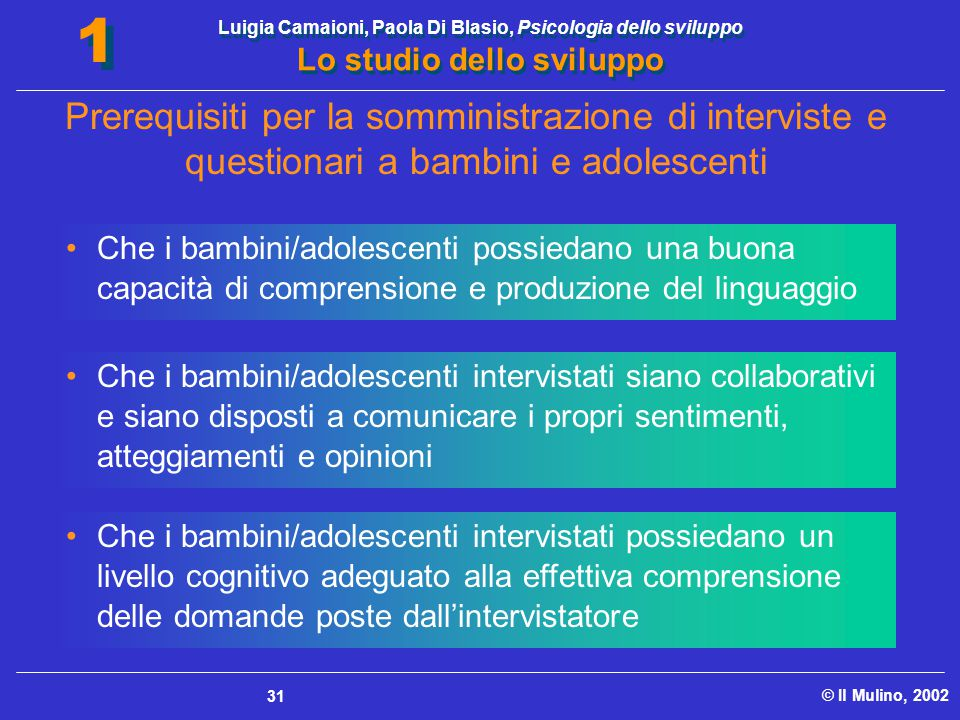 Luigia Camaioni, Paola Di Blasio, Psicologia dello sviluppo Lo studio dello sviluppo © Il Mulino, 2002 1 1 31 Che i bambini/adolescenti possiedano una