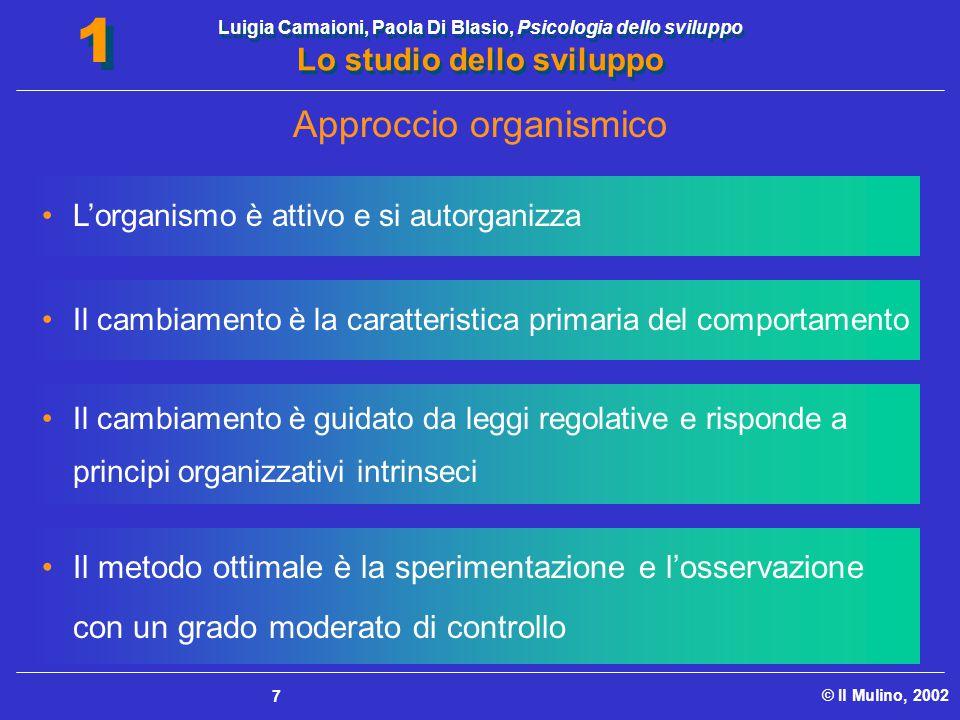 Luigia Camaioni, Paola Di Blasio, Psicologia dello sviluppo Lo studio dello sviluppo © Il Mulino, 2002 1 1 7 L'organismo è attivo e si autorganizza Il