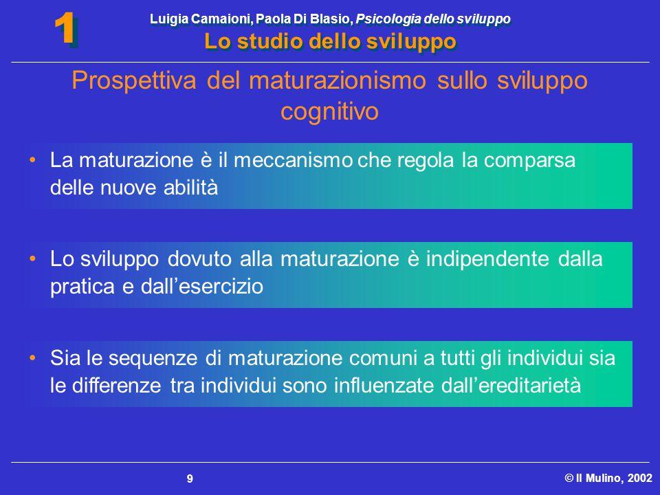 Luigia Camaioni, Paola Di Blasio, Psicologia dello sviluppo Lo studio dello sviluppo © Il Mulino, 2002 1 1 9 La maturazione è il meccanismo che regola