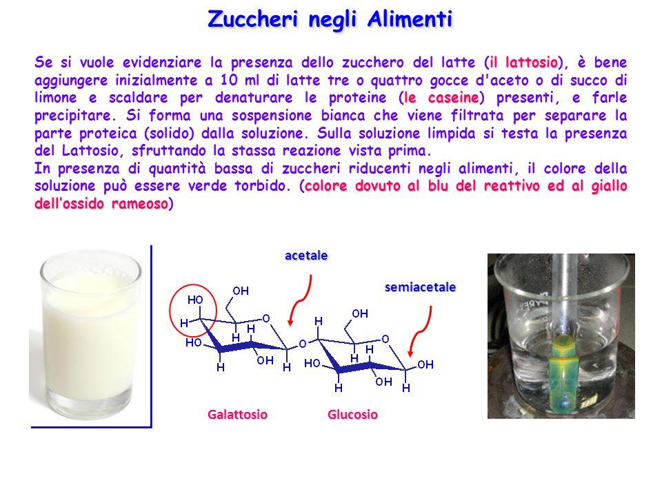 Zuccheri negli Alimenti illattosio le caseine Se si vuole evidenziare la presenza dello zucchero del latte (il lattosio), è bene aggiungere inizialmen