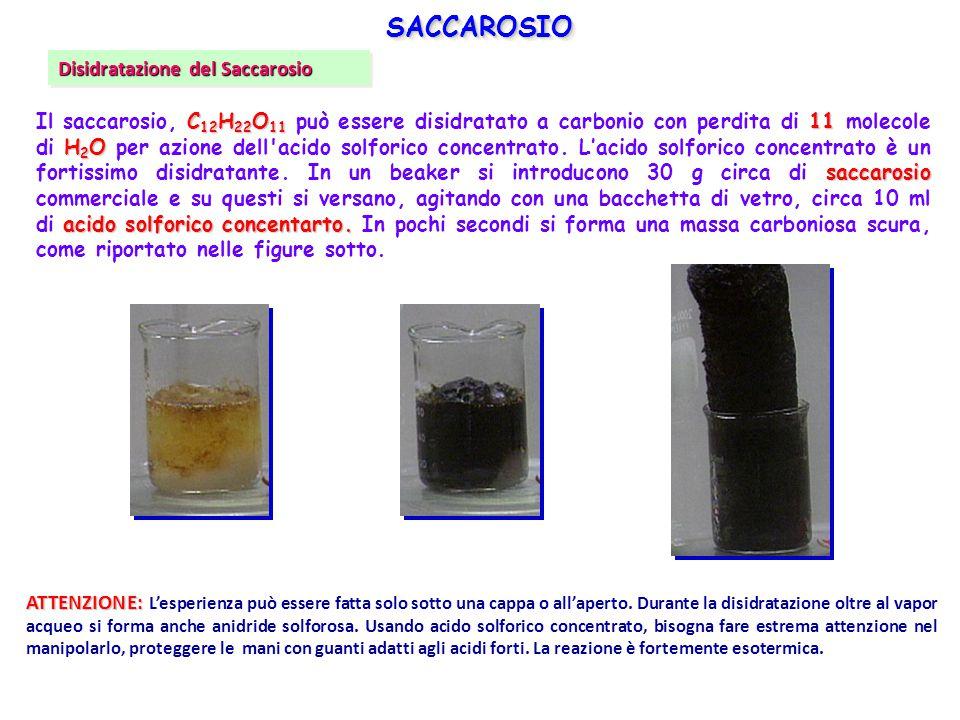 C 12 H 22 O 11 11 H 2 O saccarosio acido solforico concentarto. Il saccarosio, C 12 H 22 O 11 può essere disidratato a carbonio con perdita di 11 mole