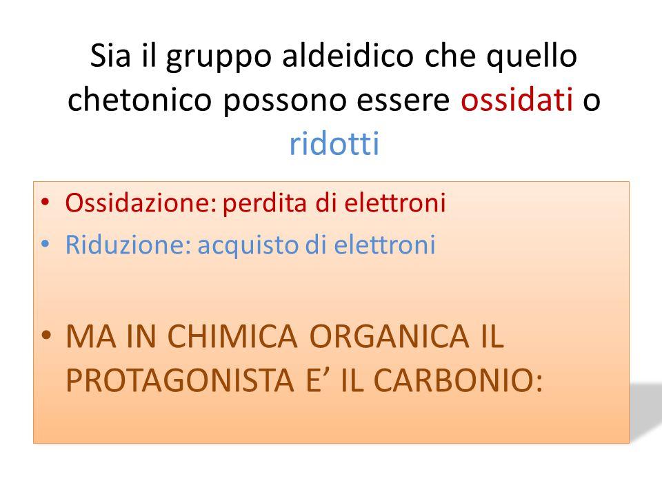 Sia il gruppo aldeidico che quello chetonico possono essere ossidati o ridotti Ossidazione: perdita di elettroni Riduzione: acquisto di elettroni MA I