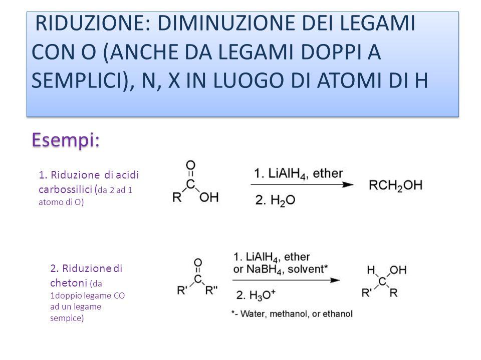 RIDUZIONE: DIMINUZIONE DEI LEGAMI CON O (ANCHE DA LEGAMI DOPPI A SEMPLICI), N, X IN LUOGO DI ATOMI DI H Esempi: 1. Riduzione di acidi carbossilici ( d