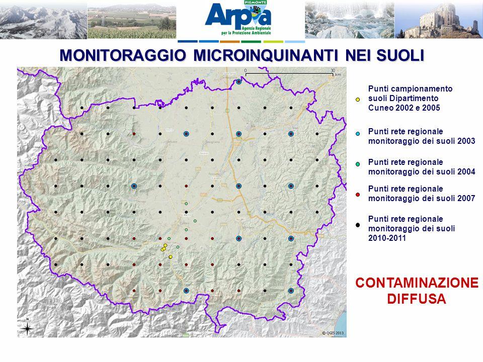 MONITORAGGIO MICROINQUINANTI NEI SUOLI CONTAMINAZIONE DIFFUSA Punti campionamento suoli Dipartimento Cuneo 2002 e 2005 Punti rete regionale monitoragg