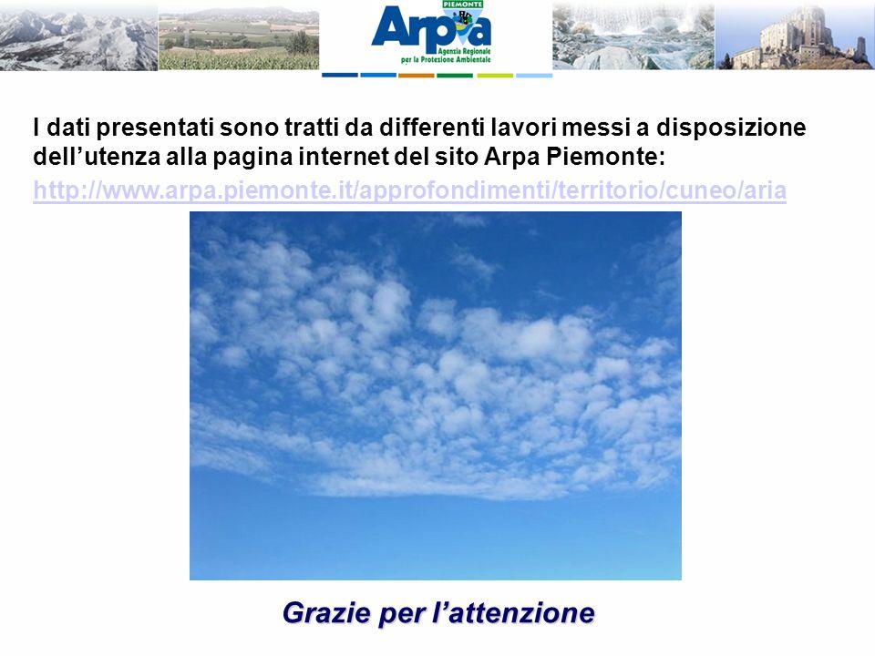 Grazie per l'attenzione I dati presentati sono tratti da differenti lavori messi a disposizione dell'utenza alla pagina internet del sito Arpa Piemont