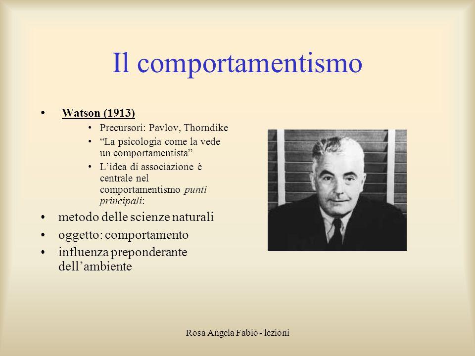 """Rosa Angela Fabio - lezioni Il comportamentismo Watson (1913) Precursori: Pavlov, Thorndike """"La psicologia come la vede un comportamentista"""" L'idea di"""