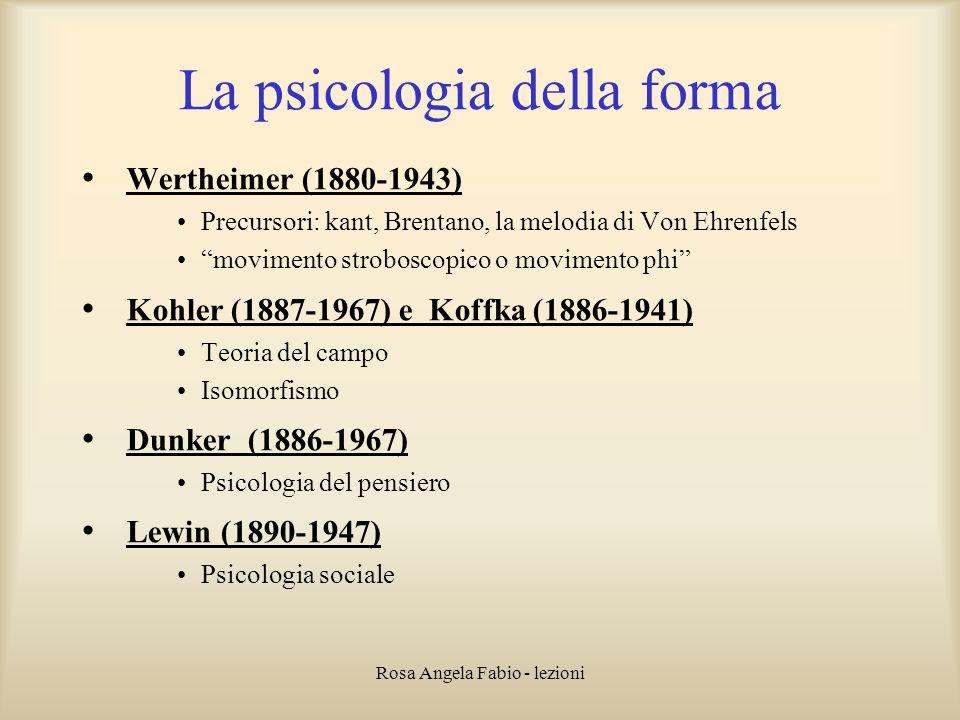 """Rosa Angela Fabio - lezioni La psicologia della forma Wertheimer (1880-1943) Precursori: kant, Brentano, la melodia di Von Ehrenfels """"movimento strobo"""