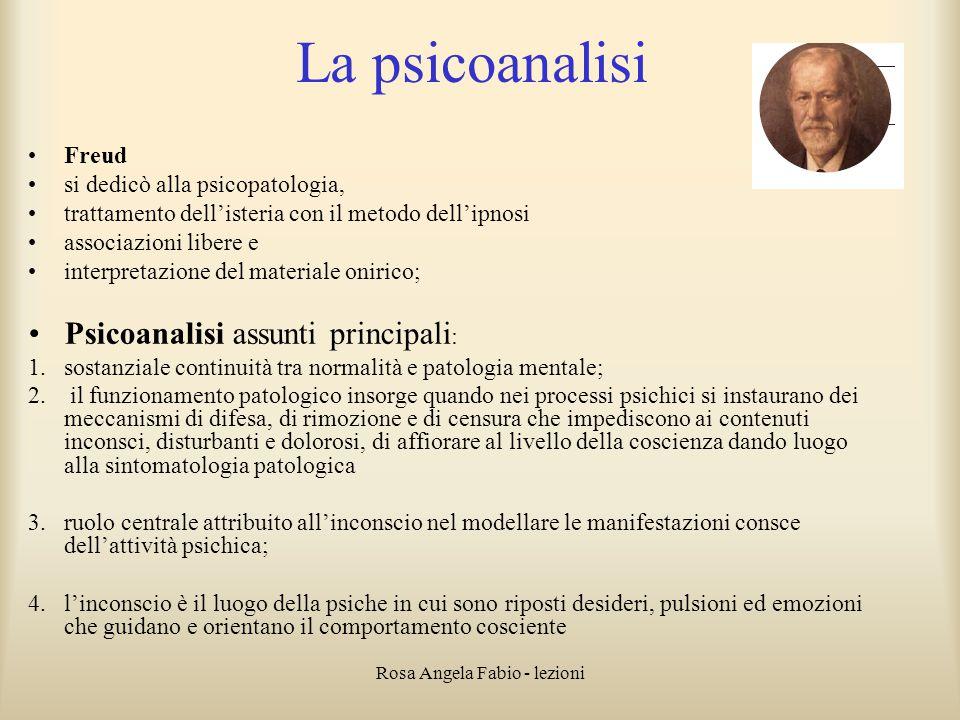 Rosa Angela Fabio - lezioni La psicoanalisi Freud si dedicò alla psicopatologia, trattamento dell'isteria con il metodo dell'ipnosi associazioni liber