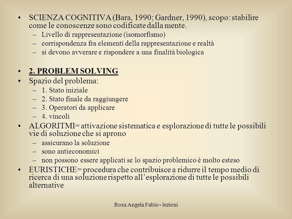 Rosa Angela Fabio - lezioni SCIENZA COGNITIVA (Bara, 1990; Gardner, 1990), scopo: stabilire come le conoscenze sono codificate dalla mente. –Livello d