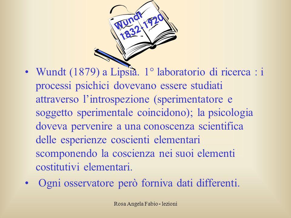 Rosa Angela Fabio - lezioni Wundt (1879) a Lipsia. 1° laboratorio di ricerca : i processi psichici dovevano essere studiati attraverso l'introspezione