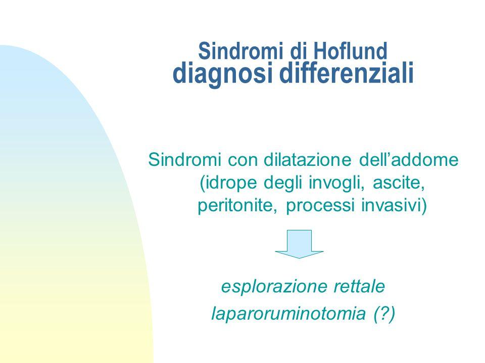 Sindromi di Hoflund diagnosi differenziali Indigestione cronica da inattività della micropopolazione ruminale anamnesi esame succo ruminale