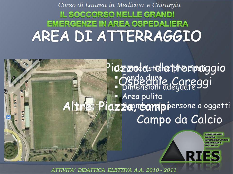 Piazzola d'atterraggio Ospedale Careggi Campo da Calcio Caratteristiche principali:  Fondo duro  Dimensioni adeguate  Area pulita  Sgombra da pers