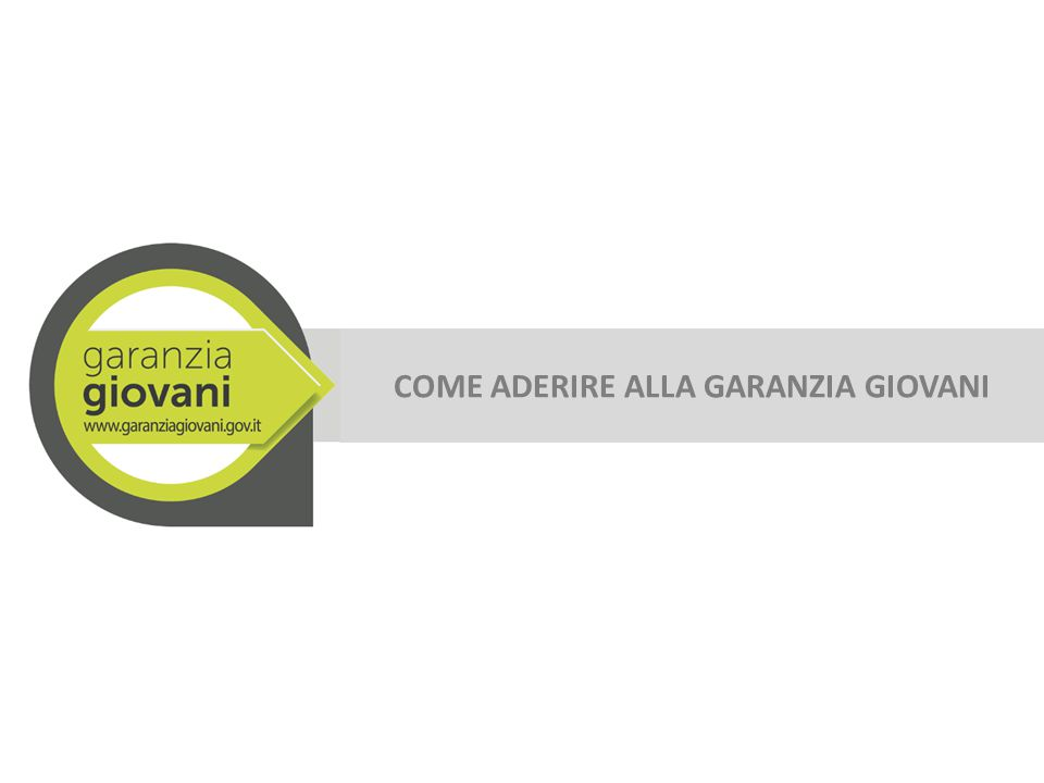 Dalla homepage del sito www.garanziagiovani.gov.it clicca su ADERISCIwww.garanziagiovani.gov.it