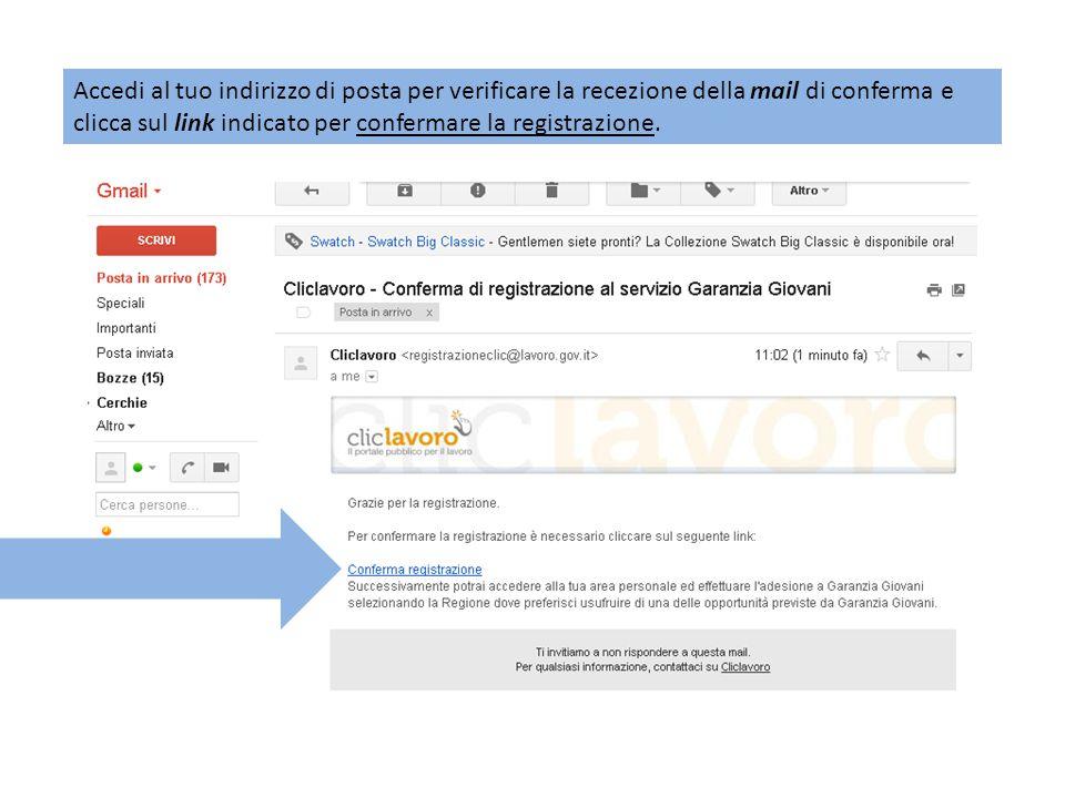 Cliccando sul link per confermare la registrazione apparirà la seguente schermata e verrà inviata una seconda mail con le CREDENZIALI DI ACCESSO al portale www.cliclavoro.gov.it : www.cliclavoro.gov.it
