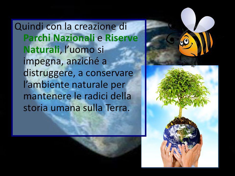 Quindi con la creazione di Parchi Nazionali e Riserve Naturali, l'uomo si impegna, anziché a distruggere, a conservare l'ambiente naturale per mantene