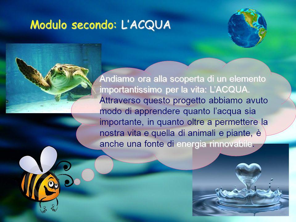 Modulo secondo:L'ACQUA Modulo secondo: L'ACQUA Andiamo ora alla scoperta di un elemento importantissimo per la vita: L'ACQUA. energia rinnovabile Attr