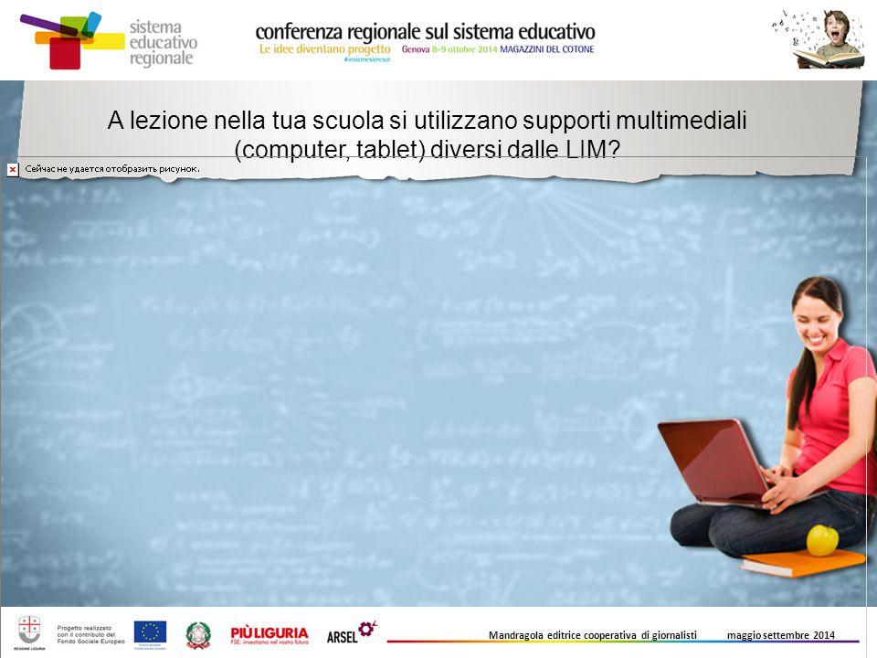 A lezione nella tua scuola si utilizzano supporti multimediali (computer, tablet) diversi dalle LIM? Mandragola editrice cooperativa di giornalisti ma