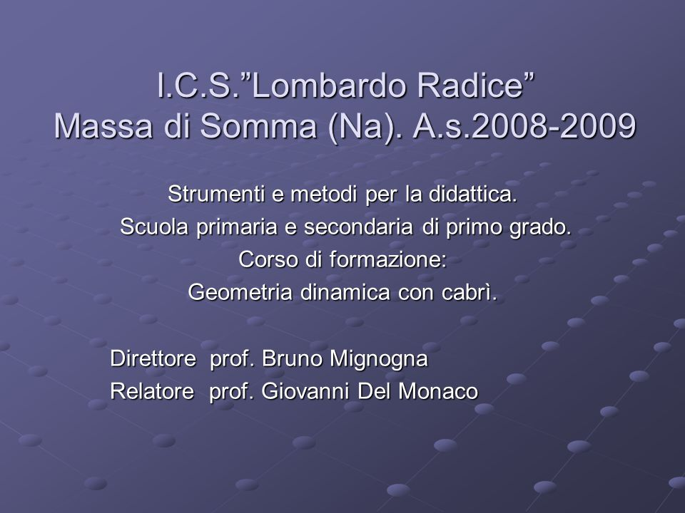 I.C.S. Lombardo Radice Massa di Somma (Na).A.s.2008-2009 Strumenti e metodi per la didattica.