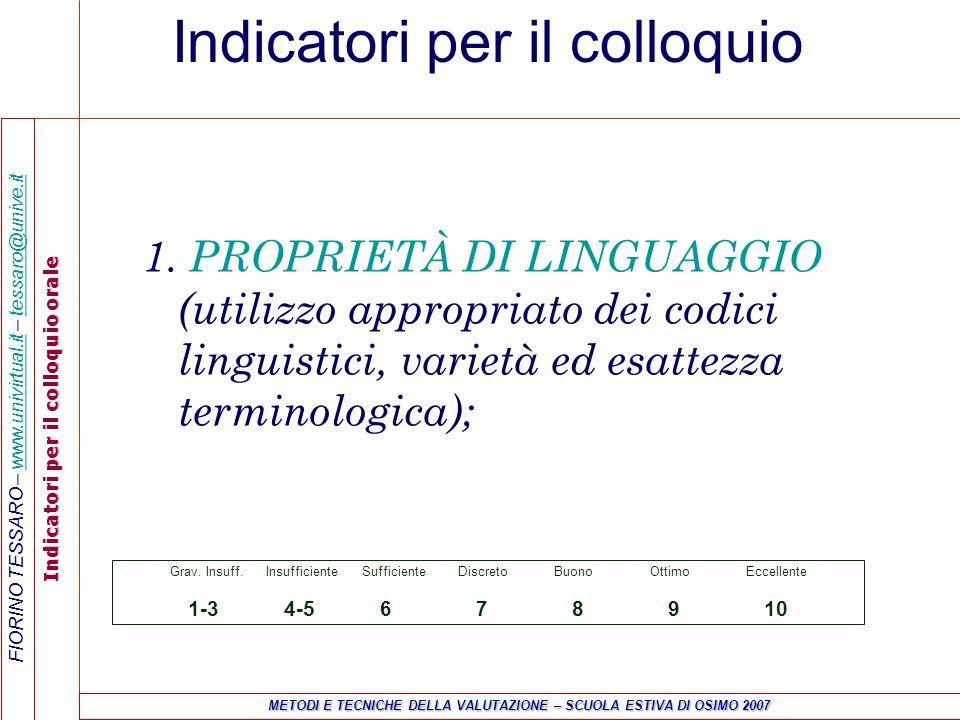 FIORINO TESSARO – www.univirtual.it – tessaro@unive.itwww.univirtual.ittessaro@unive.it Indicatori per il colloquio orale METODI E TECNICHE DELLA VALUTAZIONE – SCUOLA ESTIVA DI OSIMO 2007 Indicatori per il colloquio 1.