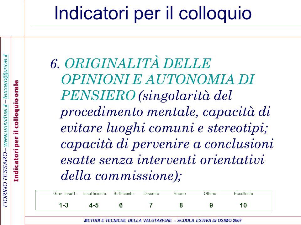 FIORINO TESSARO – www.univirtual.it – tessaro@unive.itwww.univirtual.ittessaro@unive.it Indicatori per il colloquio orale METODI E TECNICHE DELLA VALUTAZIONE – SCUOLA ESTIVA DI OSIMO 2007 Indicatori per il colloquio 7.