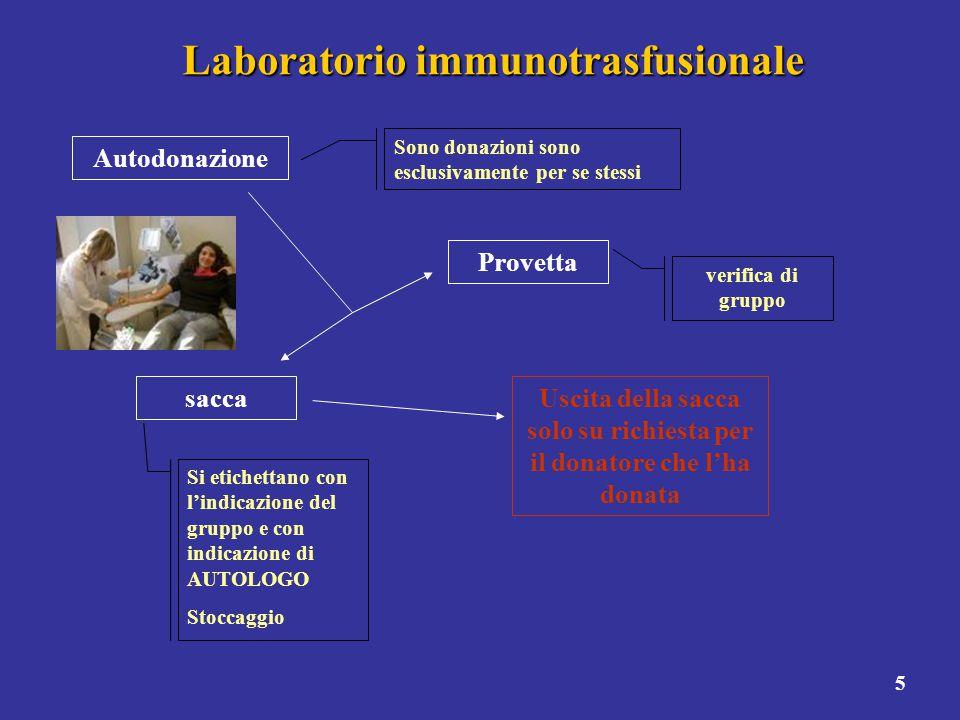 5 Laboratorio immunotrasfusionale Autodonazione Sono donazioni sono esclusivamente per se stessi Provetta verifica di gruppo sacca Si etichettano con