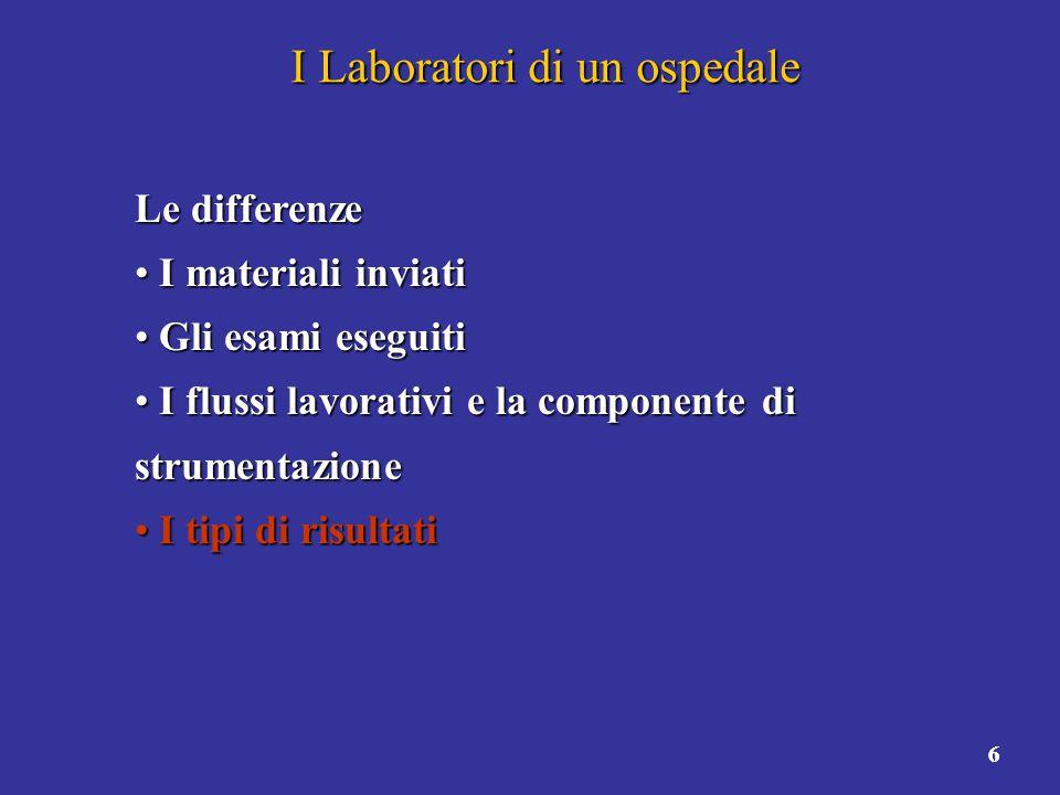 6 I Laboratori di un ospedale Le differenze I materiali inviati I materiali inviati Gli esami eseguiti Gli esami eseguiti I flussi lavorativi e la com