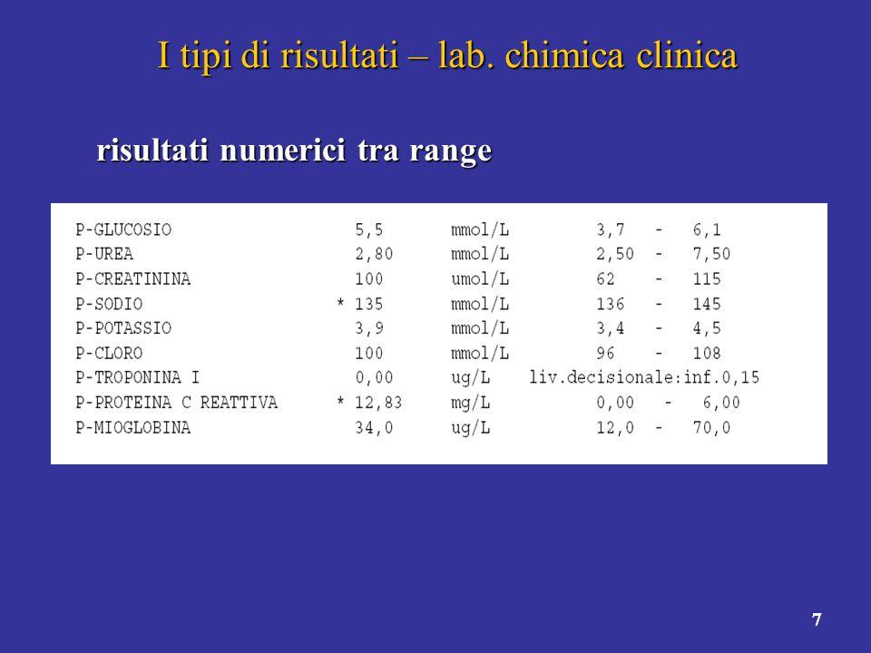 8 I tipi di risultati – lab.microb.