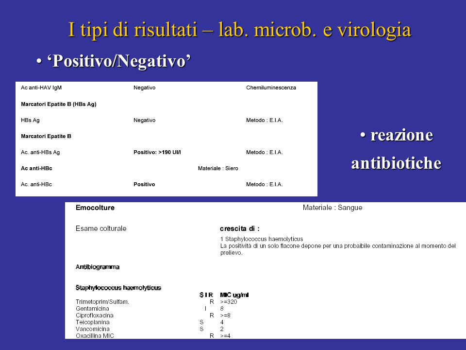 8 I tipi di risultati – lab. microb. e virologia 'Positivo/Negativo' 'Positivo/Negativo' 8 reazione antibiotiche reazione antibiotiche