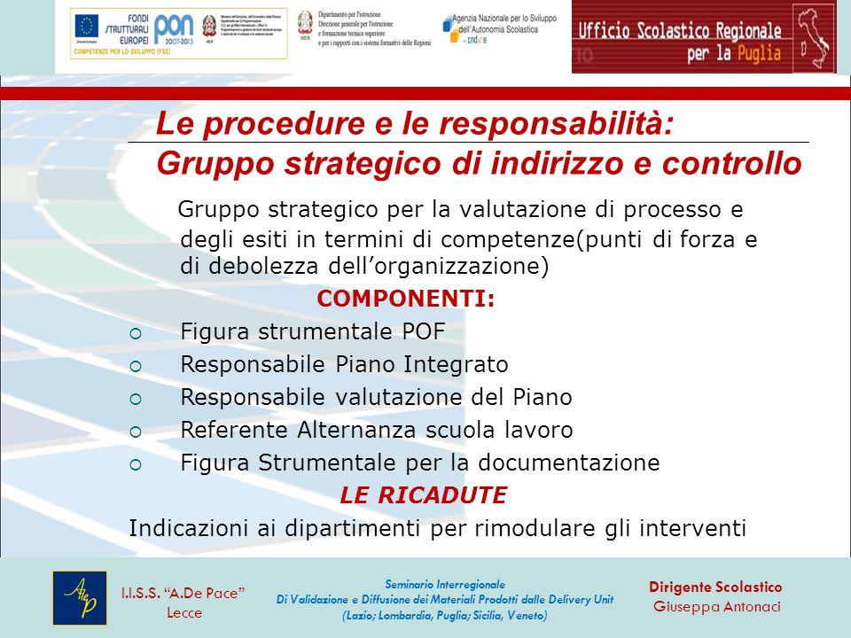 Le procedure e le responsabilità: Gruppo strategico di indirizzo e controllo Gruppo strategico per la valutazione di processo e degli esiti in termini