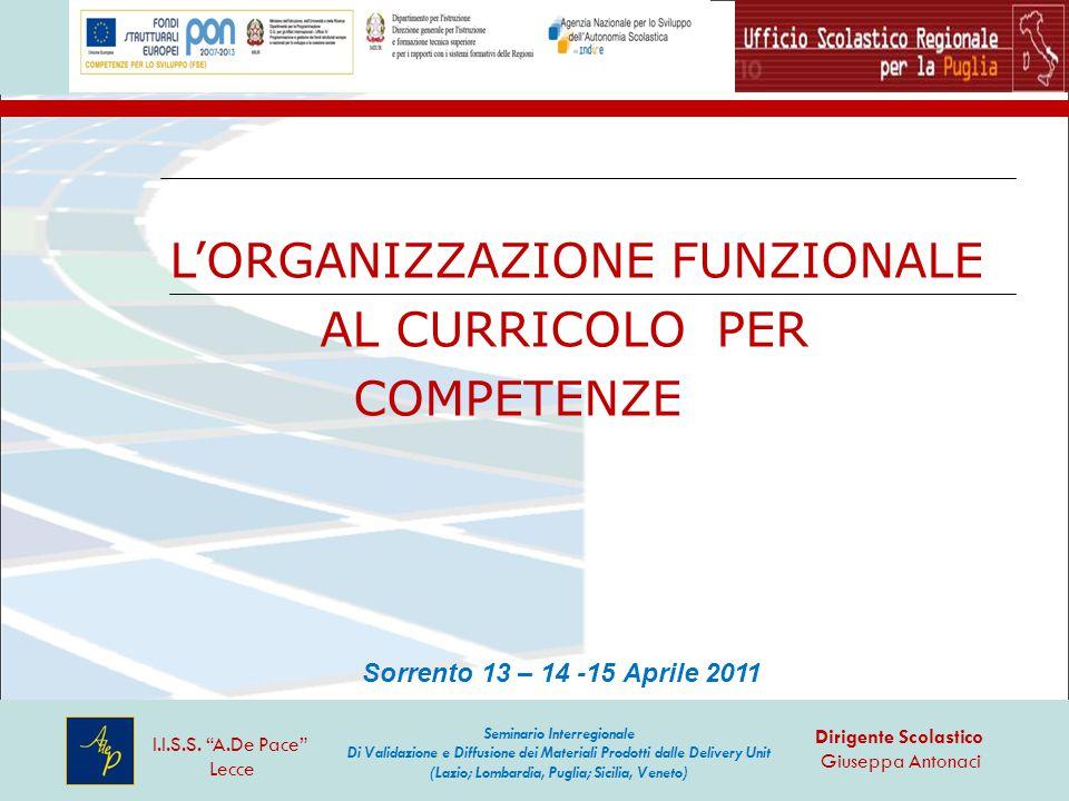 """L'ORGANIZZAZIONE FUNZIONALE AL CURRICOLO PER COMPETENZE I.I.S.S. """"A.De Pace"""" Lecce Dirigente Scolastico Giuseppa Antonaci Seminario Interregionale Di"""
