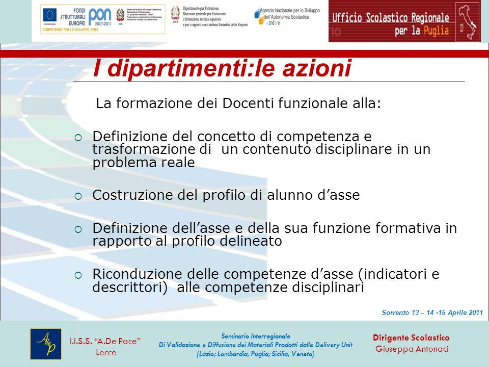 I dipartimenti:le azioni La formazione dei Docenti funzionale alla:  Definizione del concetto di competenza e trasformazione di un contenuto discipli