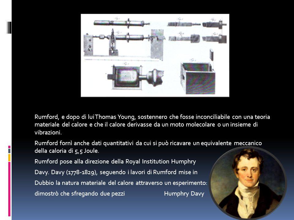 Rumford, e dopo di lui Thomas Young, sostennero che fosse inconciliabile con una teoria materiale del calore e che il calore derivasse da un moto mole