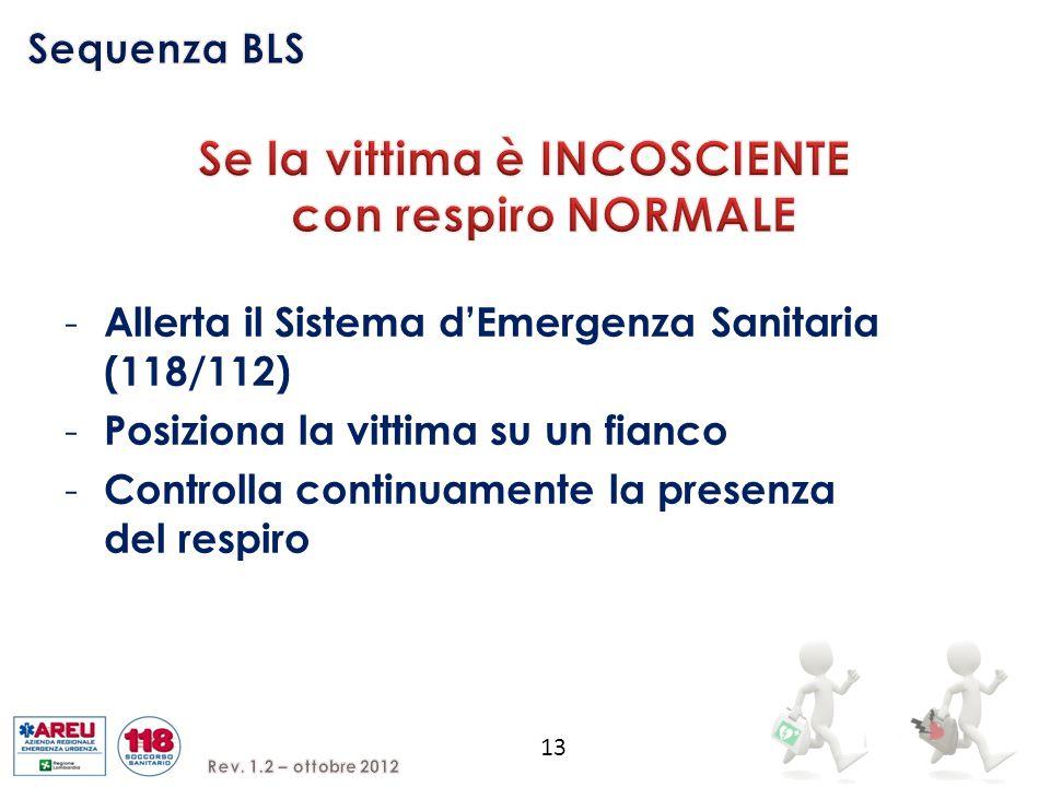 13 - Allerta il Sistema d'Emergenza Sanitaria (118/112) - Posiziona la vittima su un fianco - Controlla continuamente la presenza del respiro