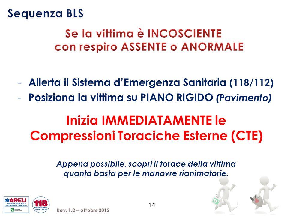 14 - Allerta il Sistema d'Emergenza Sanitaria (118/112) - Posiziona la vittima su PIANO RIGIDO (Pavimento) Inizia IMMEDIATAMENTE le Compressioni Torac